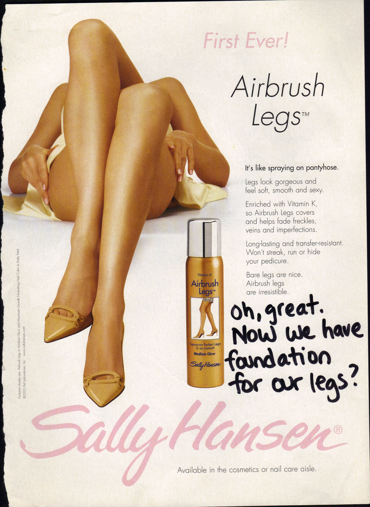 "According to the copy, ""Airbrush Legs covers and helps fade freckles, veins and imperfections."" My scars and veins are not imperfections, they are part of me! I will not cover them, and I will not worry about what other people think of them. Although I advocate for positive body image and self confidence, I am not immune to feeling insecure about my body. I have had varicose veins since my early 20's and am self conscious about them. I work really hard to accept them, and I refuse to stop wearing shorts or skirts because of them. I will not cover up my legs with spray-on pantyhose!"