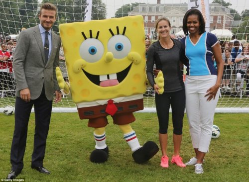 David Beckham forms a defensive wall with Brandi Chastain, the 1st Lady and SpongeBob Squarepants