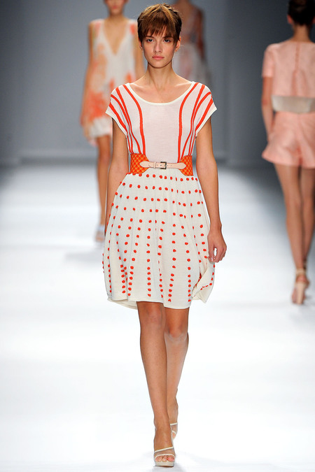 Super cute dress! Stripes and Polka dots?! Love it. (via Cacharel Spring 2013)