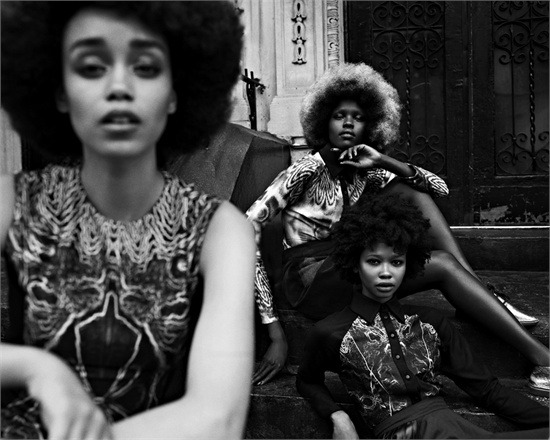 "Models Bettine MCabe, Grace Bol and Hollis Wakeema for Vogue Italia's ""Afro Look"" Feature by Jason Eric Hardwick"