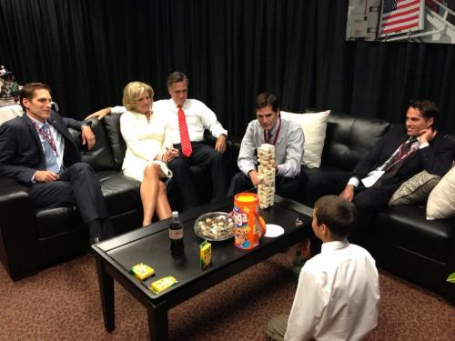 Exclusive photo of Mitt Romney not playing jenga, because he learned his lesson the last time.