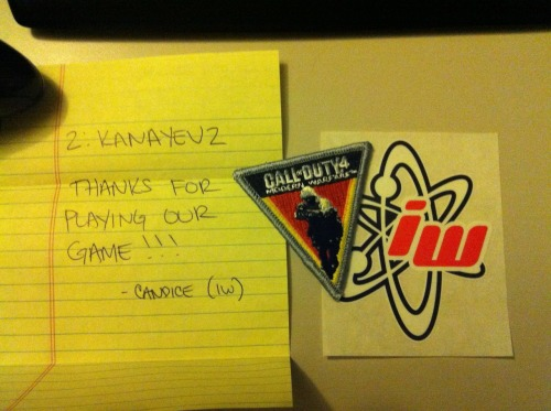 Got this today from Candice Capen, community coordinator from Infinity Ward. Thought I'd show it to you guys. <3 - Tyson