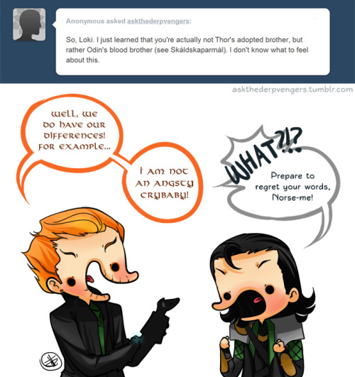 My money's on the redhead. (But as much as I love both Lokis, they are like comparing apples to oranges.) Modern Norse Loki's design belongs to erebusodora. She drew it for me in our art trade and I had to use the design.
