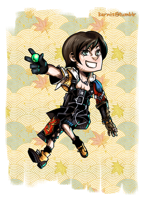 Trick Stars: Yuffie of FFVII crossdressing as Tidus from FFX. Done for the cover of my Final Fantasy fan comic, Trick Stars Vol. II. [clickie to see the full cover] Yes, I'm still alive. Been very busy.