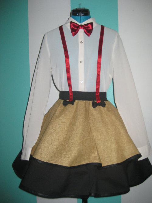 "Doctor Who - Eleventh Doctor  - Matt Smith - Inspired Cosplay Skirt Available at : Darling Army I finally got to the Doctor skirt ^_^ It is a seamless circle skirt with an elastic waist band. It features satin elastic ""suspenders"" that are sewn to the skirt. I even added extra bow ties for extra bow tie funsies =D I wish I had a better shirt. The one displayed is a Medium that I bought becuase it was the only one left when myself and the dressform are a Small. Oh well. It still makes me giddy ^_^ I made an extra for myself that I think I'll wear to the Disneyland Mickey Mouse Halloween party/event <3"