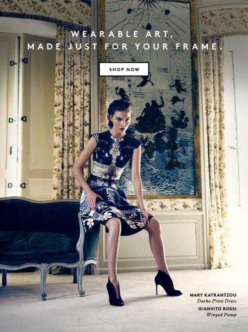 Arizona Muse for Barney's F.W campaign. Wearing Mary Katrantzou dress, Gianvito Rossi heels. [fashioncopious.typepad.com]