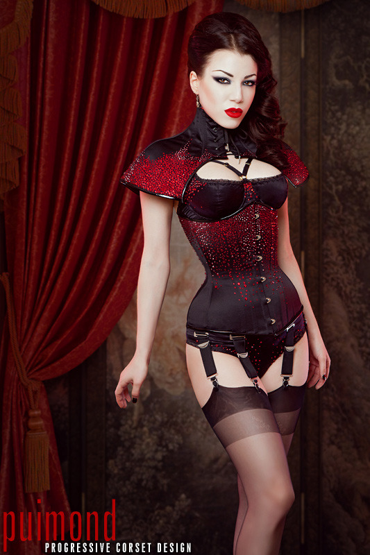Puimond PY09 Curvy Underbust and Corset Cape with over 6000 Siam Swarovski Crystals. Worn with custom lingerie by Karolina Laskowska. Modeling, photography, styling and artwork by me.