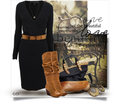 Untitled #1249 by snippins featuring leather boots ❤ liked on PolyvoreGucci long sleeve jersey dress, $655 / Jessica Simpson leather boots / Vanessa Kandiyoti gold evil eye necklace