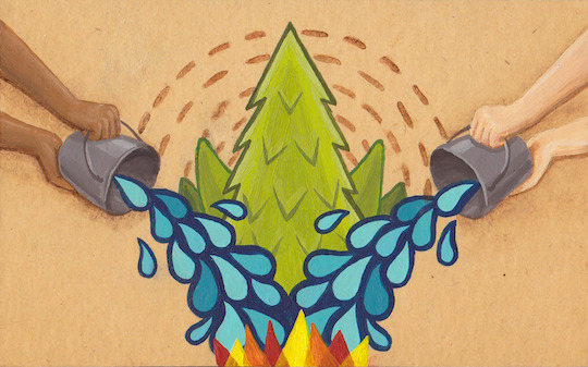 Post stamp illustration I made to elevate awareness of wildfires, many of which are carelessly set by humans.Acrylic/watercolour on found cardboard.Jason Stamatyades
