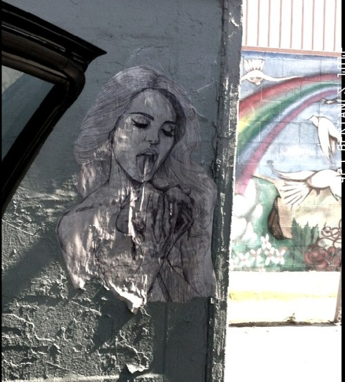 Hearteater Lana Del Rey portrait pasted on the northeast corner of Sunset and Maltman, Silver Lake, Los Angeles.