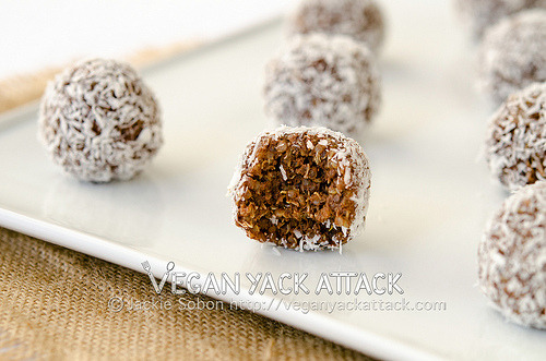 Cocoa-nut Quinoa Bites Delicious and easy-to-make, no-bake, Cocoa-nut Quinoa Bites! They even have peanut butter in them. ;) Find this recipe at Vegan Yack Attack!
