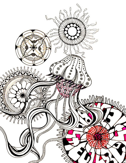 kohera:  Patterns @ Pen drawing   Dope!! Looks like an amazing new age abstract Biology book cover design