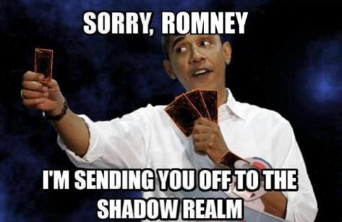 "dabunnyarena:  serepuff:  gammogahato:    iM DONE  Romney has activated the ""Big Bird Is My Friend"" Spell Card. Obama counters with the ""PBS Is Worth More Than Millions Per Cent to America"" Trap Card. Romney has lost -7999 Life Points. He shall be sent to the Shadow Realm yet…"
