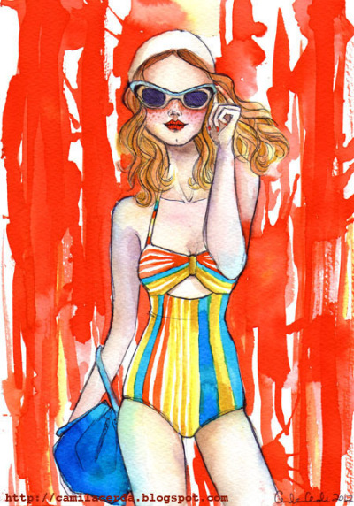 *Kiss the wrong side* Swimwear by Lauren Moffitt SS13, sunglasses by Marc by Marc Jacobs SS13. Watercolor, ink pen Illustration by Camila Cerda
