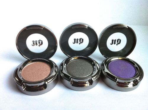 Urban Decay Eyeshadows in Sin, Mushroom, and Flash
