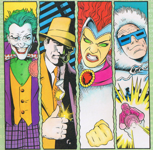 about-faces:  Joker, Two-Face, Blackfire, and Captain Cold by Kevin Maguire.