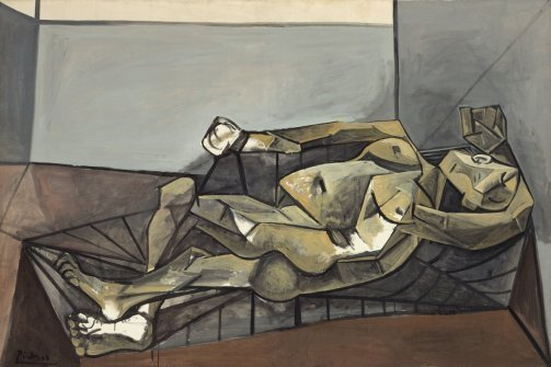 Pablo Picasso, Reclining Nude (Grand nu couché), Grands-Augustins, Paris, September 30, 1942. © 2012 Estate of Pablo Picasso/Artists Rights Society (ARS), New York-Courtesy of Solomon R. Guggenheim Museum (via Artlog) Exhibition, Picasso in Monochrome, Solomon R. Guggeinheim Museum, From Oct 5th, 2012 thru Jan 23, 2013