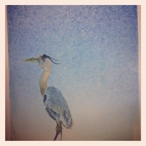 maeverose:   great blue heron, monotype print. #maeveroseart #birds (Taken with Instagram)