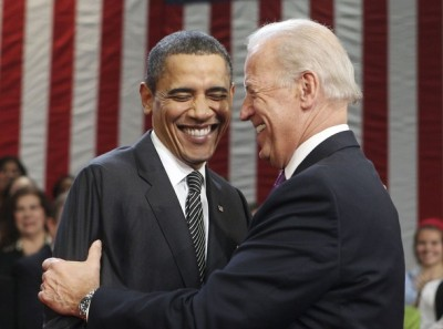 Not quite a hug, but we'll take it between Joe and Barack.