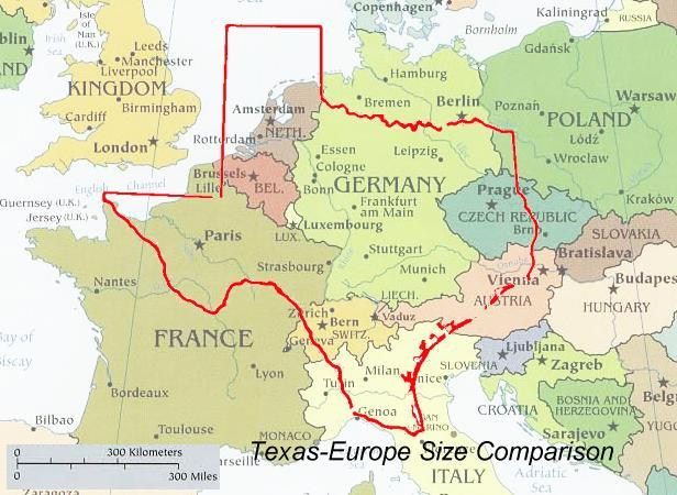 rosswoodpark:  prussiabutts:  time-for-maps:  Texas-Europe size compansion  this changes everything oh my god  do you understand why it trips me out that people can drive 45 minutes and be in aNOTHER COUNTRY?I drive for 45 minutes and im like a city over     Compare to: cool stuff per capita.