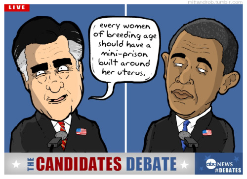"Some good points from Romney but I disagree that ""every women of breeding age should have a mini-prison built around her uterus."" — rob delaney (@robdelaney) October 4, 2012"