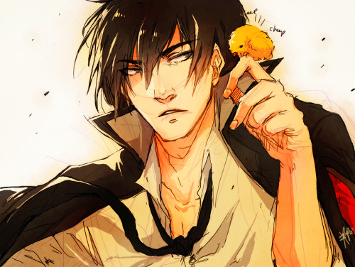 weeaboo trade w/my moirail……..so i scribbled a kyoya hibari(???????????) who i know doesnt wear a jacket properly and likes chicks(??)