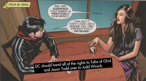 "dccomicconfessions:  ""DC should hand all of the rights to Talia al Ghul and Jason Todd over to Judd Winick.""  I'd be fine with this."