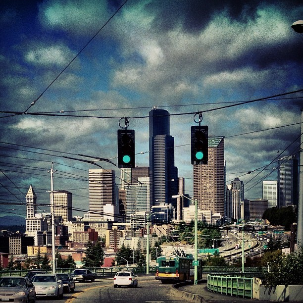 Seattle skyline from 12th St. bridge. #seattle #skyline #landscape #iphoneography  #scenic (Taken with Instagram)