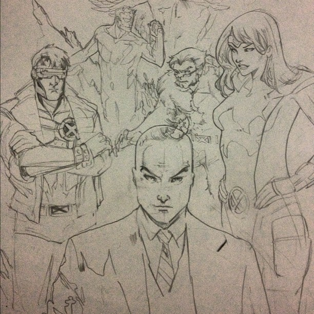 In NYC and its 4am so I decided draw the xmen from my childhood  (Taken with Instagram)