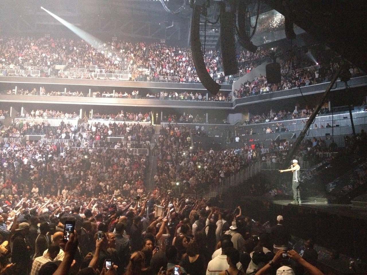 Jay-Z talking to the crowd. Barclay's Center. Inaugural Night. September 28th 2012. © Louise Chen.