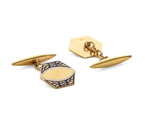 Vintage 18k Yellow Gold Linked Hexagon Cufflinks
