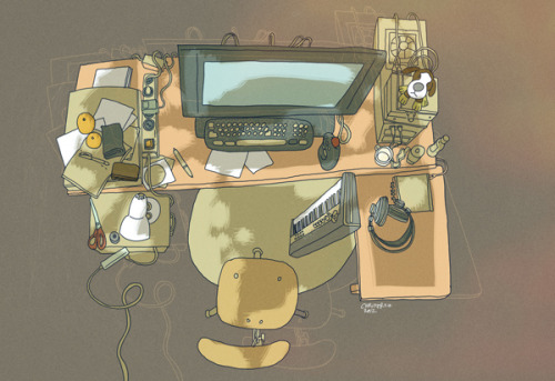 (Christer's work table. Illustration by Christer Nuutinen.) THE ILLUSTRATOR OF THE MONTH / OCTOBER 2012: CHRISTER NUUTINEN Christer Nuutinen has graduated as Master of Arts at the Aalto University in Helsinki in 2002. He has put his digital media skills to good use over the years but traditional illustration is also close to his heart. You can read Christer's interview here. CHRISTER'S SIX FAVOURITES:Art equipment: Wacom and modeling clayDrawing subject: Mythological creaturesMusic: Klaus Nomi: Simple ManMovie: Nicolas Roeg: The Man Who Fell To EarthComic: David Collier: Portraits from LifeWebsite/Blog: wiretotheear.com
