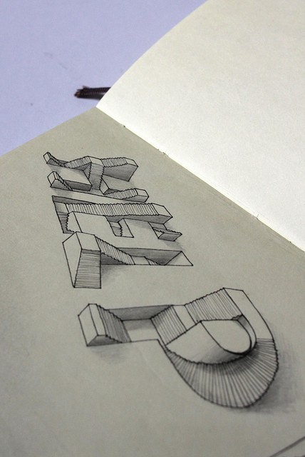 "beautifultype:  really impressive ""3D"" drawing by Lex Wilson"