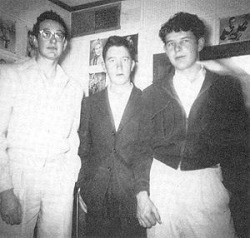 "(Photo) Buddy, Larry & Bob at KDAV Lubbock TX, 1955. Larry played upright bass with the ""Buddy, Bob & Larry"" trio (Buddy Holly, Larry Welborn & Bob Montgomery) in 1955 - they played fairs, clubs, skating rinks, and any place they could showcase their new rockabilly sound - opening for such acts as Bill Haley & The Comets, Jerry Lee Lewis, Johnny Cash, and even the great Elvis Presley. Recording wise, he appeared on the early undubbed recordings ""Down The Line"", ""Brown Eyed Handsome Man"", ""Bo Diddley"" & others."