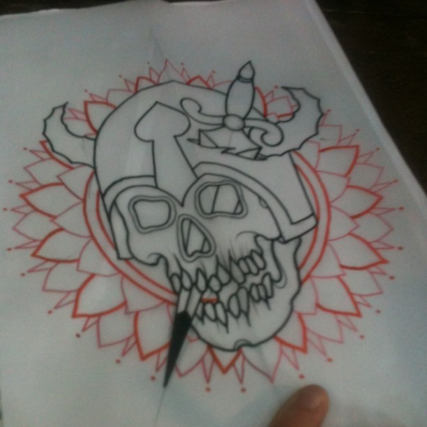 #skull #skulltattoo #tattoo #geometrictattoo (Taken with Instagram)
