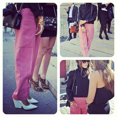 Pink pants + white heels = fashion match made in heaven. #PFW