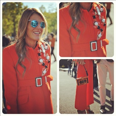 Anna Dello Russo adds some zest to the proceedings in head-to-toe orange. #pfw