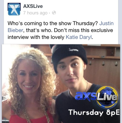 Watch Justin's interview on axs TV live tonight at 8pm ET on http://www.axs.tv/