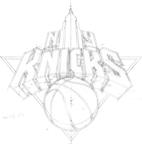 Typeverything.com - NY Knicks logo sketch by Michael Doret.