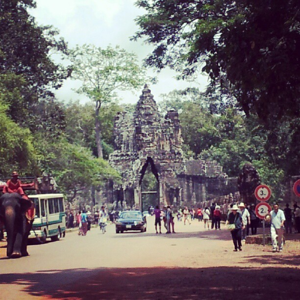 Now we move on to: Angkor Thom City !! The area was a center of a kingdom back long long ago. It is really wide and there are some old temples there. We specifically visited the infamous Bayon Temple. This is the picture of one of its gates. There are 4 gates to enter #AngkorThomCity: North, West, South, East.  More info ? Check uncle google :D or find a way to go there !  #AngkorThom #AngkorArcheologicalPark #SiemReap #Cambodia #froyolava #instagram #instagramer #instagramers #instamood #instadaily #instadroid #instapop #instagood #instago #instagroove #andrography #andrographer #fotodroids #fotodroindo #droidkameraindo #bestoftheday #picoftheday #photooftheday #ig_nesia #photodroids  (Taken with Instagram)