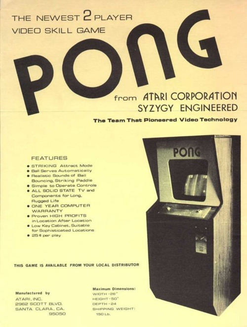 Atari Pong - 'The Newest 2 Player Video Skill Game' - 1973.