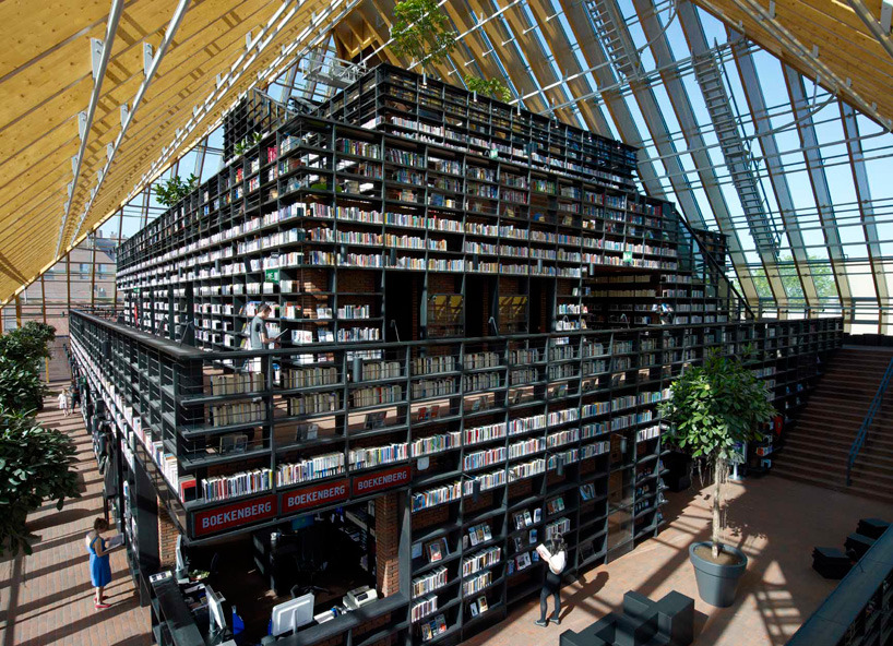 cjwho:  MVRDV: book mountain + library quarter, spijkenisse  A: Hey Horatio! Come look at this, I think you'll like it A LOT! H: What is it? A: It's a 3 story library full of books on every wall. H: Intriguing… A: *Smiles*