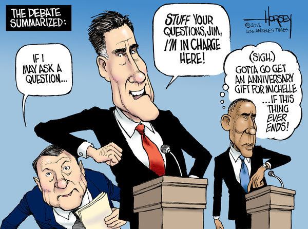 cartoonpolitics:  Most commentators today seem to be giving Romney the edge in the first of the presidential debates but really these carefully choreographed and controlled performances have more to do with show business than proper political debate. I think the country deserves (and needs) much better.
