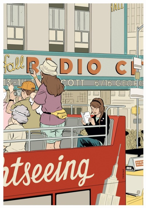 riverheadbooks:  Love these images from artist, illustrator, and New Yorker contributor Adrian Tomine's new book, New York Drawings, published by Drawn and Quarterly. We feel a kinship with these New York City reader drawings, especially. via papermag.com