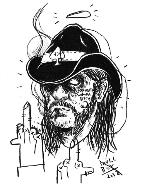 Just a quick sketch for a wall mural I'm hoping to do. Lemmy, you mufucker.