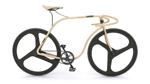 Bike Design: This Beautiful Bike Is Made From Bent Beech Wood This bike, designed by Andy Martin for furniture manufacturer Thonet, is unlike any other we've ever seen. Save for its wheels and drivetrain, the whole thing is made from swooping lengths of steamed beech wood—and it looks just beautiful as a result. The contours of the frame were cut using…