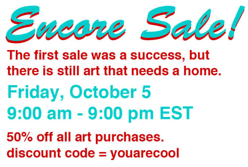 Reminder for tomorrow. Pick up some original art as gifts for your quirky arty friends. http://martharichartprojects.bigcartel.com/