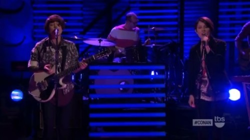 "Last night, our current cover artists Tegan and Sara stopped by Conan to air dancy cut ""Closer."" (via Watch: Tegan and Sara on ""Conan"" 
