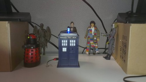 My desk at work, can't tell I am a Whovianhttp://scificity.tumblr.com