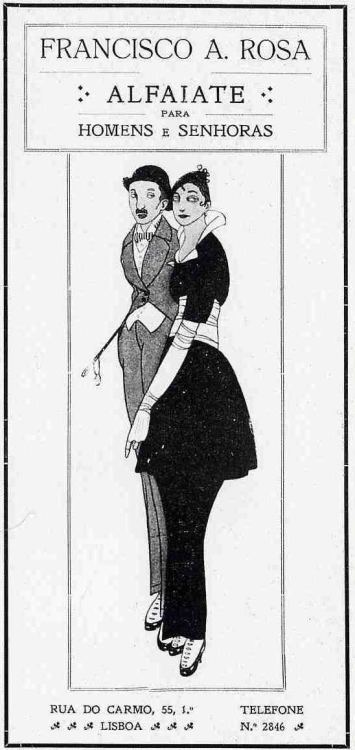 "Contemporânea magazine, Francisco A. Rosa Taylor ad, 1922  Illustration by Jorge Barradas?  Via Hemeroteca Digital da Câmara Municipal de Lisboa  ""Francisco A. Rosa Taylor for Men and Ladies"""